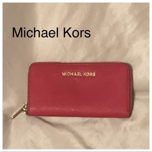 Michael Kors red leather midsize wallet